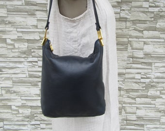 0a3dd4ea37c 90s Navy Blue Leather Minimalist Handbag, 1990s Shoulder Bag Navy Blue, Navy  Hobo Bag Purse Handbag Satchel, 90s Minimalist Bag