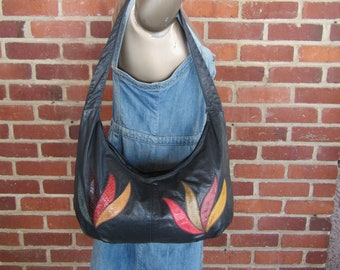70s Python and Leather Hobo Bag, Snakeskin Crossbody Purse Bag 80s Slouch Satchel Handbag, 1970s 1980s Navy Blue Leather Bag Hippie