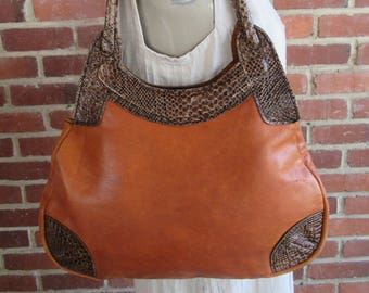 70s Leather Hobo Sienna Whiskey Brown Leather Bag Purse Tote Handbag Satchel 1970s Vintage Boho Hippie