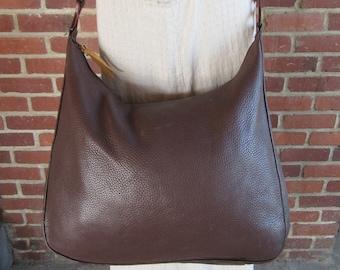 Brown Pebbled Leather Hobo Bag Brown Large 1990s Minimalist Vintage 90s Satchel Handbag 80s 1980s