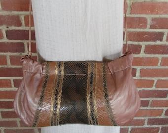80s Python and Leather Crossbody CLutch Bag Purse tote Handbag Satchel, Carlos Falchi Crossbody Bag, Pearl Leather and Python Bag 1980s Glam