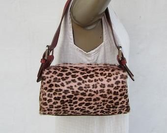 f19e7eec0610 90s Leopard Print Pony Hair and Leather Satchel | 1990s Pony Hair Baguette  Bag PUrse Handbag Satchel | Small Pony Hair Bag Purse Y2K