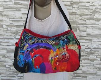 bacd0c2984d4 Laurel Burch Tote Bag Moroccan Mares Horse Satchel Handbag Purse 80s 90s  1990s 1980s Vintage Tote