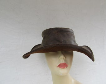 888331cba68 Leather Hat Vintage Hippie boho Size XL Large Cowboy Western Black Leather  Indiana Jones 1970s 90s 70s 1990s