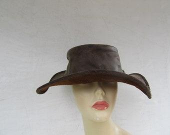 6d41365e26f Leather Hat Vintage Hippie boho Size XL Large Cowboy Western Black Leather  Indiana Jones 1970s 90s 70s 1990s