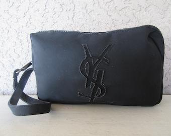 YSL Yves Saint Laurent Clutch Purse Makeup Bag Cosmetic Carrier Travel Bag  1990s 90s Minimalist Vintage be1624071a