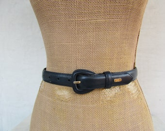 bc5252c8f7a7 90s Ralph Lauren Simple Navy Blue Leather Belt, 1990s Minimalist Navy Blue  Skinny Leather Belt, M 27 to 31