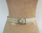 80s Taupe Leather Skinny Belt Lion Head Buckle Belt Leather Trouser Belt 90s Anne Klein Small 23.25 to 26.75
