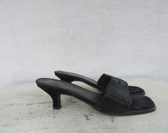 da2c7b946b 90s Minimalist Architectural Heel Black Snakeskin Leather Mules, 1990s  Block Heel Mules Slides Sandals Shoes, Open Toe Mules | 6 EURO 36.5