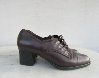 771b030d57 90s Chunky Heel Oxford Shoes, Oxfords 1990s Dark Brown Leather Square Heel  Ankle Boots, Square toe Ankle Boots,7 37.5 EURO