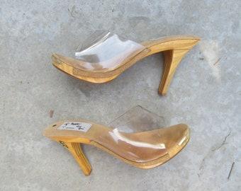 3afafc2f3bce9 Wood heel slide | Etsy