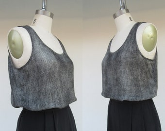90s Shell Tank Top Simple Sateen Blouse Top Shirt