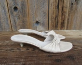 90s OPen Toe Blush Leather Mules Sandals Slides Minimalist Architectural Heel Sandals Ruched Leather Mules 7.5 EURO 38