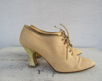 86de2ceb012 1990s YSL Yves Saint Laurent Architectural Heel Leather and Raffia Granny  Shoes Booties | 90s YSL Ladies Oxford Shoes Heels Pumps | 6.5 37