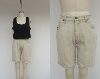 30 Waist Longline Pleated  High Wasted Bermuda Shorts 90s Mom Shorts 1990s Oatmeal High Waist Linen High Waist Longline Shorts