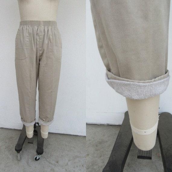 90s Fleece Lined Khaki Minimalist Cotton Blend Eas