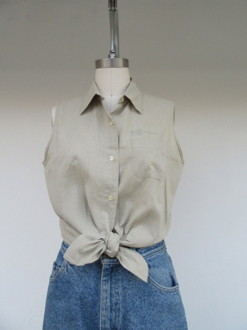 L Minimal Sage Khaki Linen Button Front Top Blouse Shirt 90s DKNY Khaki Linen Cotton Blend Sleeveless Safari Shirt