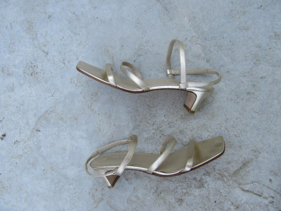 1990s Strappy Gold Leather Architectural Heel Sand