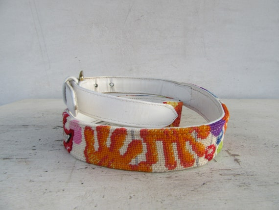 White Leather Embroidered Clown Face Belt | Clown… - image 4