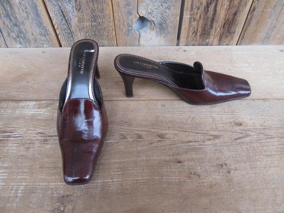 90s Square Heel Mules, Brown Eelskin Leather Mule… - image 2