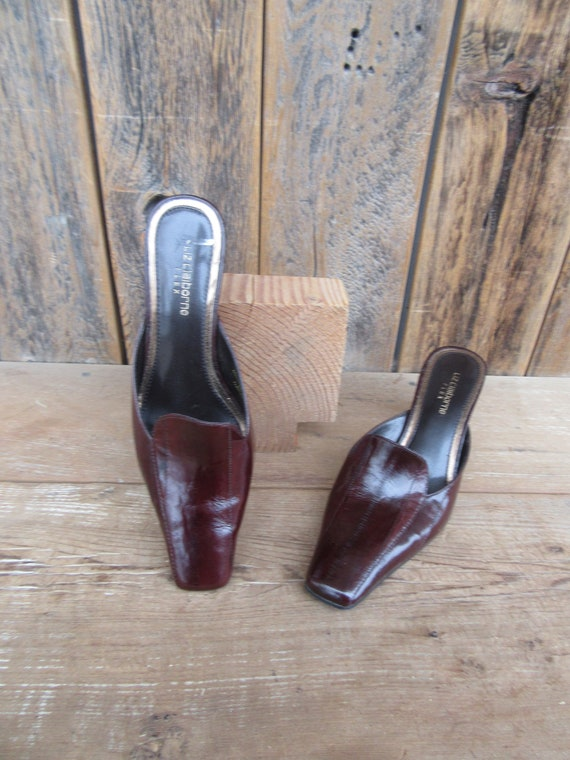 90s Square Heel Mules, Brown Eelskin Leather Mule… - image 4