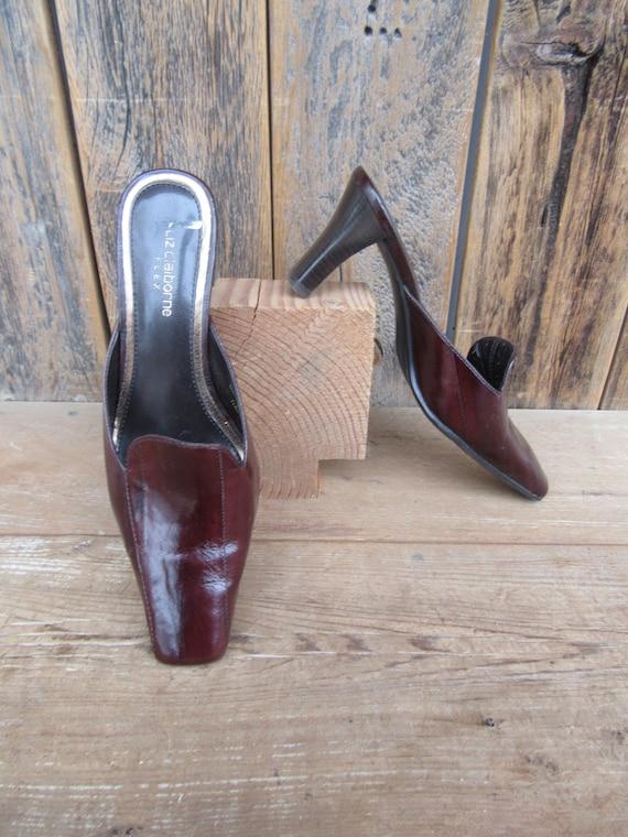 90s Square Heel Mules, Brown Eelskin Leather Mule… - image 3