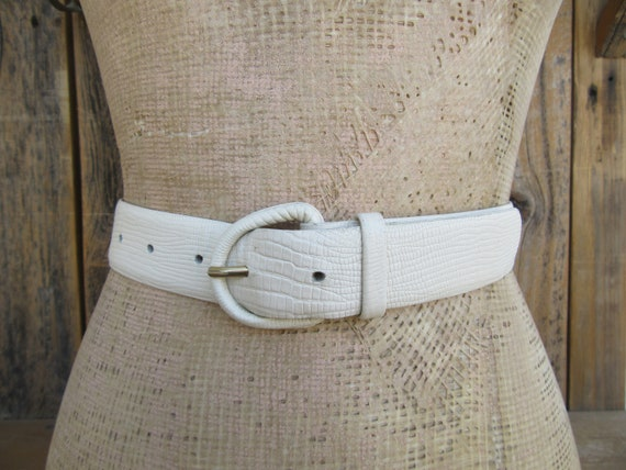 1980s Vanilla Cream Lizard Grain Leather Waist Belt, 90s Lizard Belt, Lizard Grain Leather Waist Belt, M 25.5 To 29.5 by Etsy