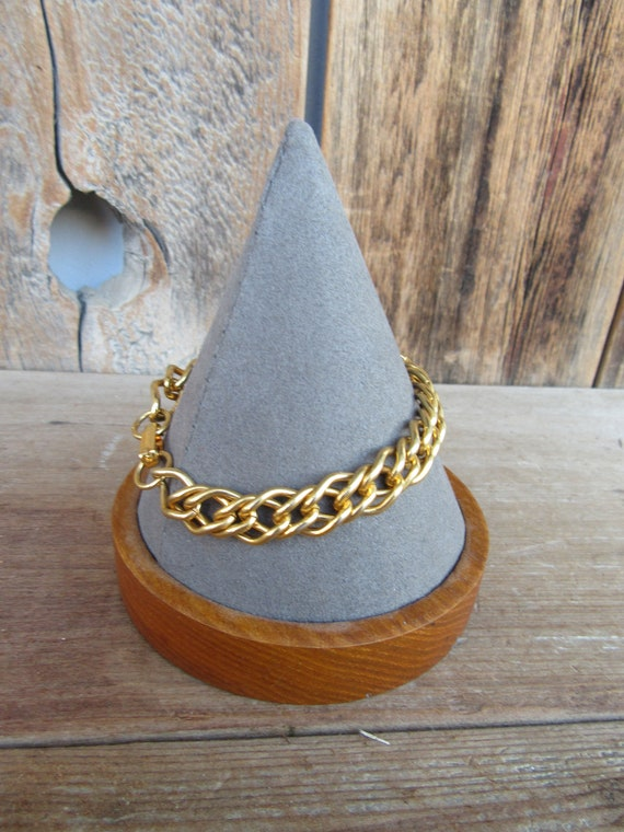 90s Gold Tone Thick Heavy Chain Bracelet | CHunky