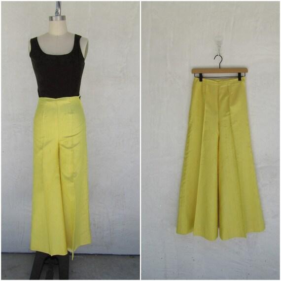 60s One of a Kind High Waist Lemon Yellow Flare Be