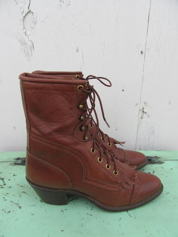 1990s Cowboy Laceup 8 Roper Capezio Leather Boots 90s 38 Western Brown Vintage Womens Kiltie Size