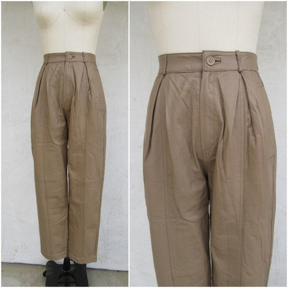 80s 90s Pleated Taupe Leather Pants | Tapered Leat