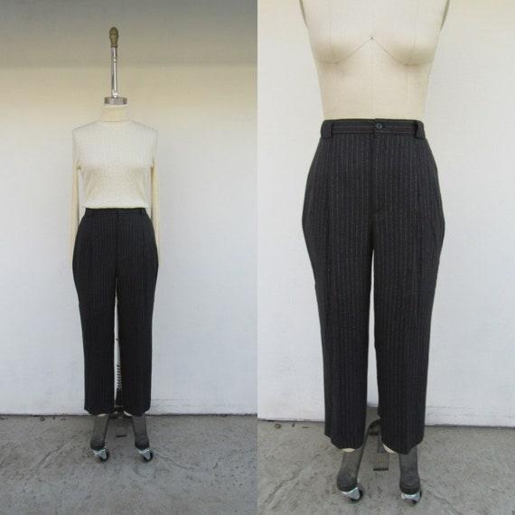 90s Black Pinstriped High Waist Trousers | Minimal