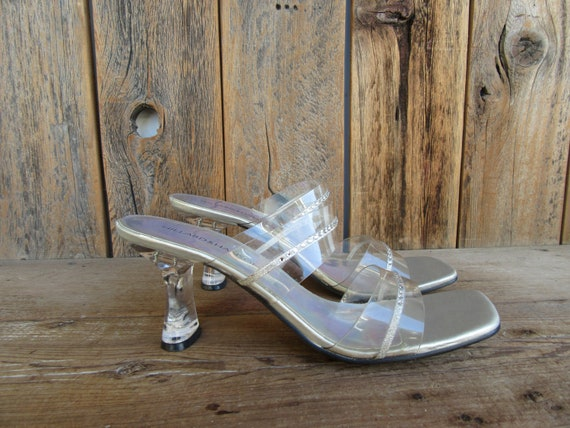90s Jelly Slides, Minimalist Clear Square Wood He… - image 1
