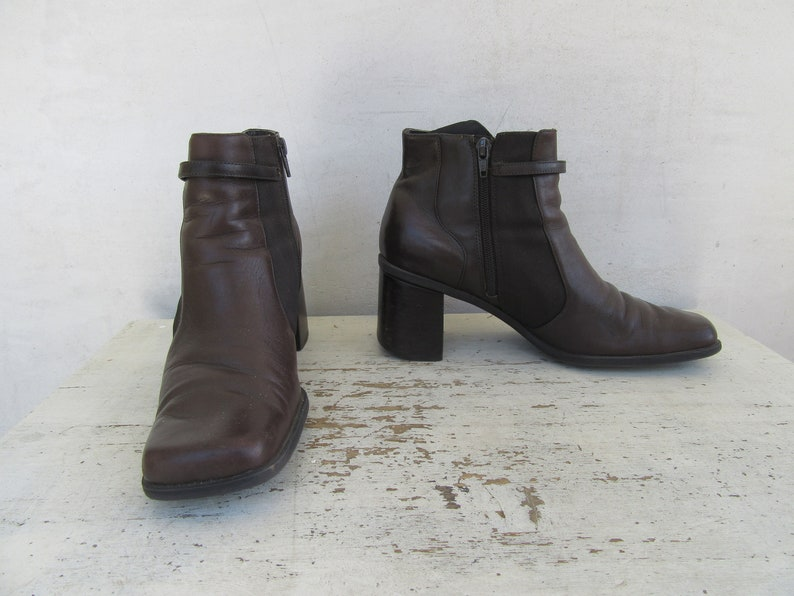 90s Square Heel Dark Brown Leather Boots Minimal Brown Leather Ankle Boots 8.5 EURO 39 1990s Minimalist Block Heel Square Toe Boots