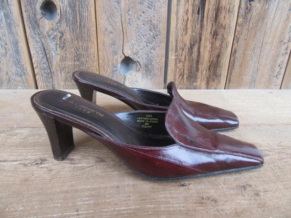 90s Square Heel Mules, Brown Eelskin Leather Mule… - image 1