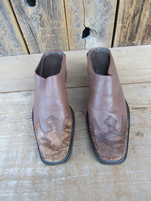 90s Brown Leather Block Heel Square Toe Half Boot… - image 4