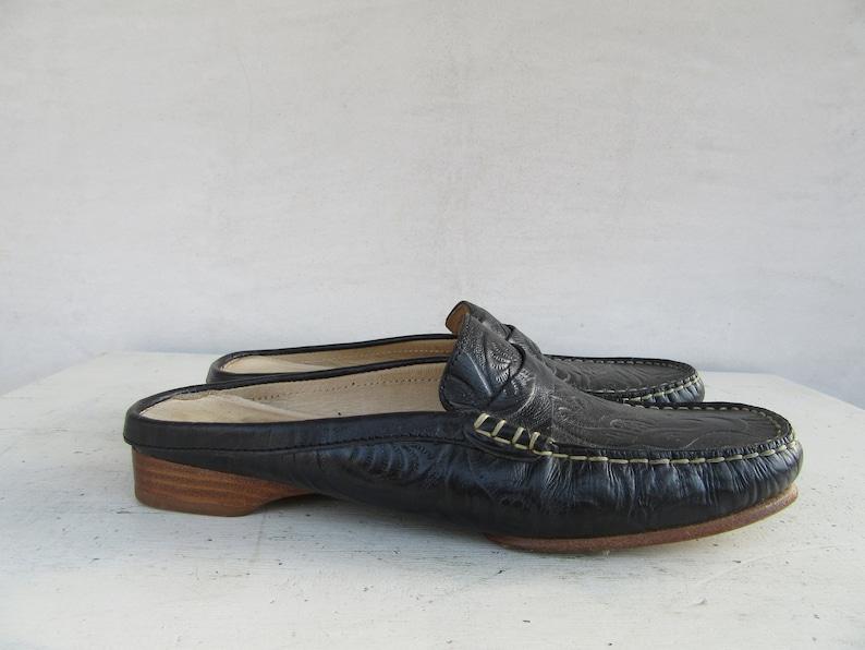 7.5 EURO 38 90s Square Block Heel Tooled Leather Mules Sandals Slides