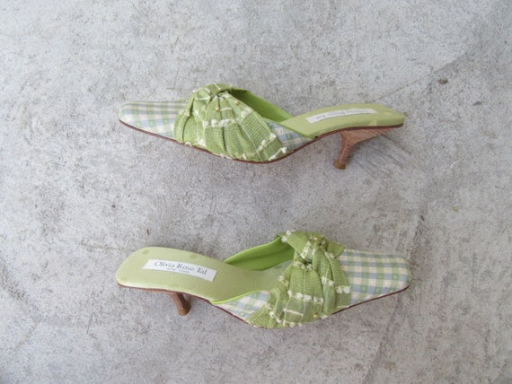 90s Green Fabric Square Toe Architectural Heel Mul