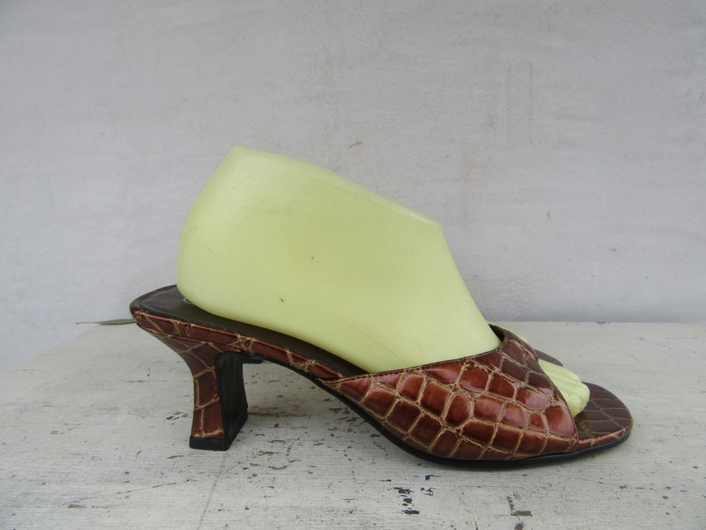 90s Minimalist Square Heel Moc Croc Vegan Mules, Vegan Architectural B Lock Heel 1990s Open Toe Mules, Size 8 Euro 38.5 by Etsy