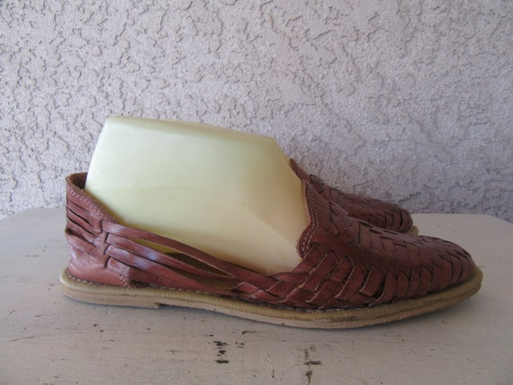 80s 90s Shoes Size Euro 1980s Leather 5 Leather 38 Huaraches Woven 8 Brown Flats 1990s nwaYtS