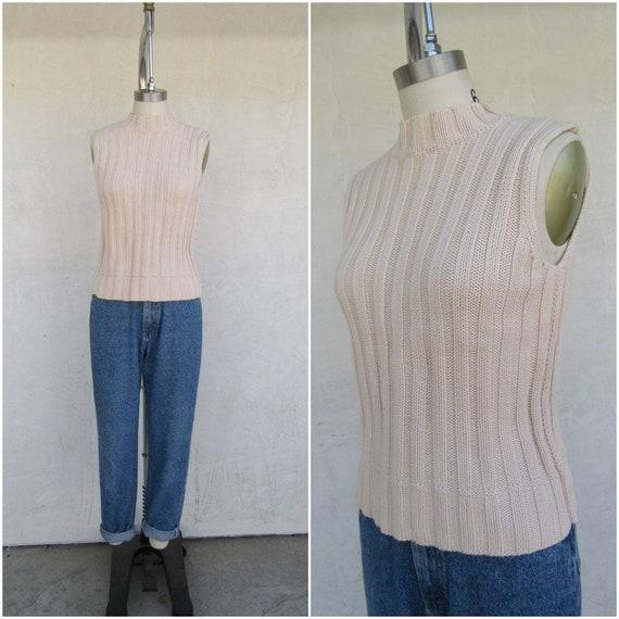 90s Vanilla Cream Cableknit Moch Neck Sleeveless S