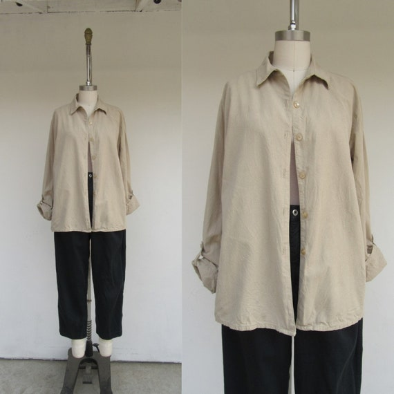 Raw Silk Overshirt | 90s Minimal Boxy Oversized Kh