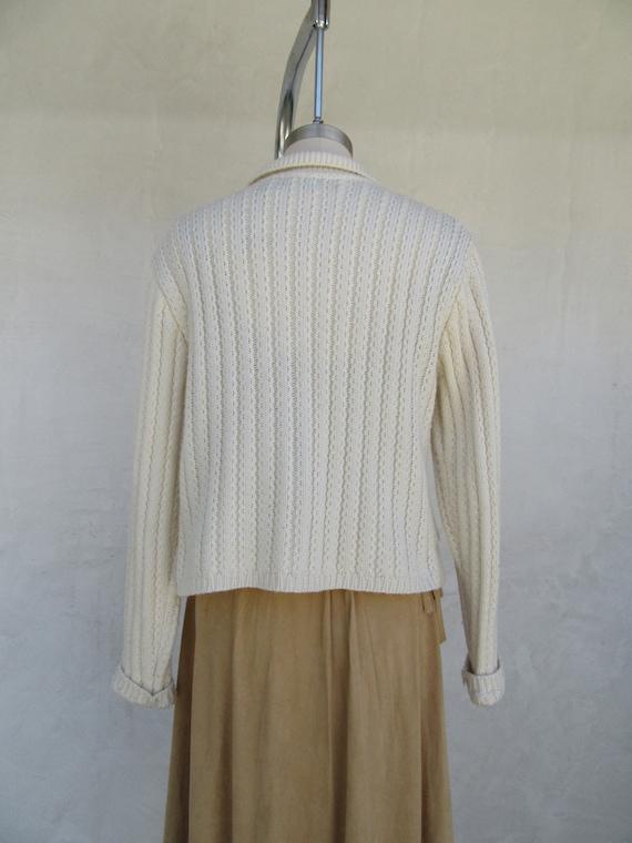 80s 90s Vanilla Cream Wool Blend Cropped Cardigan… - image 7