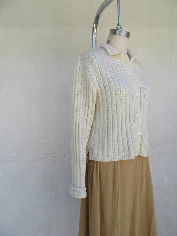 80s 90s Vanilla Cream Wool Blend Cropped Cardigan… - image 8