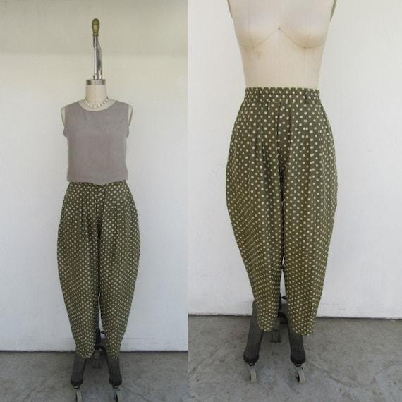 Polka Dot Silk Pleated High Waist Easy Pants | 90s