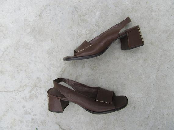 1990s Talbots Square Block Heel Open Toe Slingback
