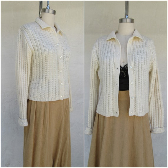 80s 90s Vanilla Cream Wool Blend Cropped Cardigan… - image 1