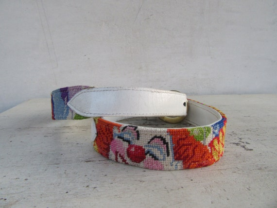 White Leather Embroidered Clown Face Belt | Clown… - image 3