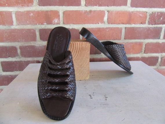 90s Sandals 1990s Mules Bench Slides Brighton Leather 8 Heel Chunky M Brown Leather Made Shoes Size Woven Flats nfxqfwFz