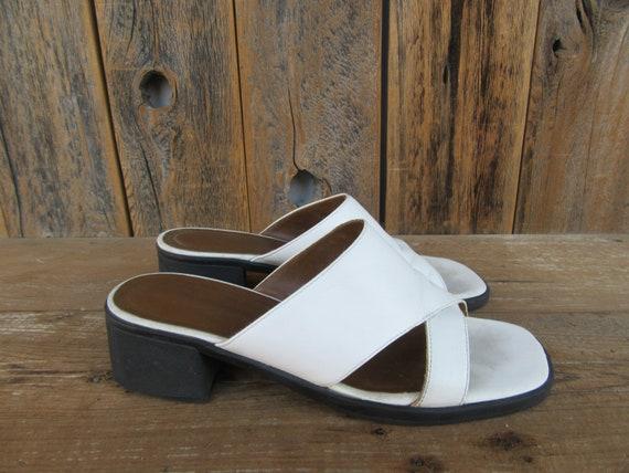 Stark White Leather Square Heel Mules | Open Toe M